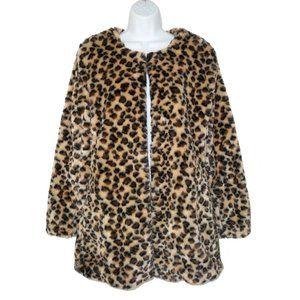 NWT Love Tree Faux Fur Leopard Coat Jacket M